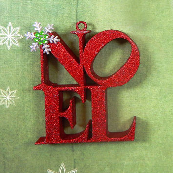 Christmas Ornament, 3D Christmas Ornament, Noel Ornament, Silver Glitter Ornament, Glitter Ornament, Noel Christmas Decor, Christmas Decor