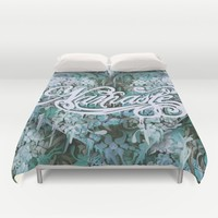 Namaste in Blue Duvet Cover by Kristy Patterson Design