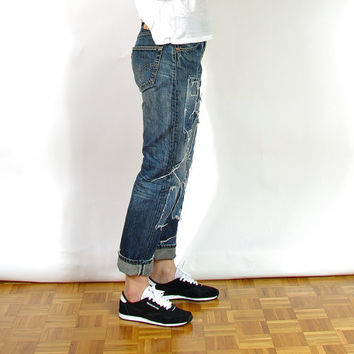 SALE 40% OFF - Upcycled LEVI'S 501 Denim Jeans/ Street Style Distressed Boyfriend Pants/ Button Fly/ W31 L30