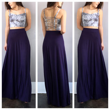 A Basic Maxi Skirt in Eggplant