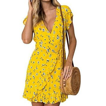 Floral Ruffle Print Deep V Neck Short Sleeve Wrap Dress