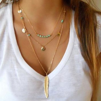 turquoise necklace feather chocker gift box  number 1