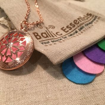 "Pink Copper Essential Oil Diffuser Aromatherapy Pendant, necklace jewlery locket antique 24"" Chain and 5 aroma pads"