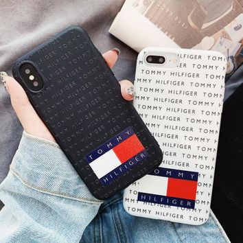 1215ac0aa9ba Tommy New fashion letter print couple protective cover phone cas.