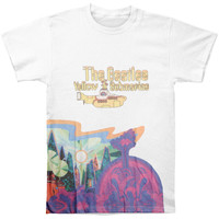 Beatles Men's  Yellow Sub Logo & Scenery T-shirt Multi Rockabilia