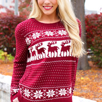 Kaitlyn's Cozy Sweater - Burgundy