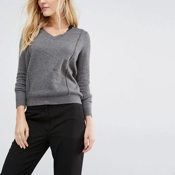 Y.A.S Zelena Cutwork Jumper With V-Neck
