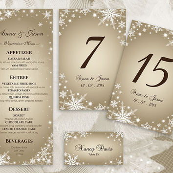 DIY Printable Wedding Table Package Deal Templates | Editable MS Word file | Instant Download | Winter White Snowflakes Champagne Gold