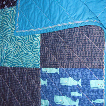Baby Turquoise Patchwork Quilt TURQUOISE NAUTICAL QUILT Baby/Toddler  Nautical Themed Cottage Chic Baby Shower Gift