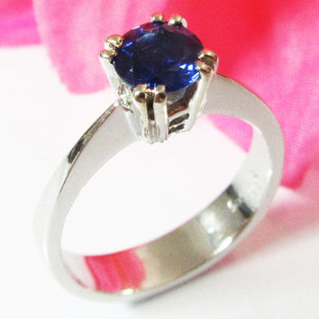 Sapphire Ring, Engagement Ring, Solitaire Ring, 14K White gold, September Birthstone