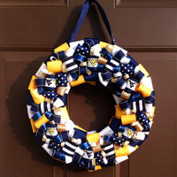 West Virginia Wreath WVU Mountaineers Football Ribbon
