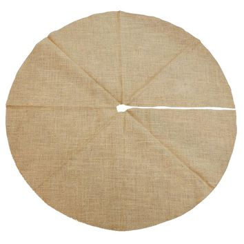 Natural Burlap Round Christmas Tree Skirt w/ Glitters, 50-Inch
