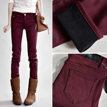 Elastic Solid Color Thickened Warm Pants Trousers Jeans