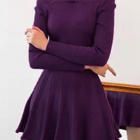 Purple Halter Off-Shoulder Long Sleeve Mini Skater Knit Dress
