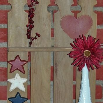 Rustic Picket Fence display shelf / spice rack with distressed barn board finish