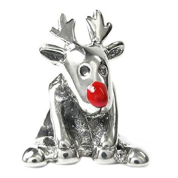 Sterling Silver Red Nose Christmas Rudolph Reindeer Deer Europeanstyle Bead Charm