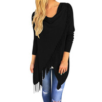 Fringed Wrap Sweater