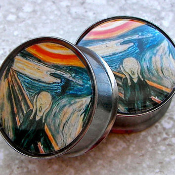 "The Scream Plugs - One PAIR - Sizes 2g, 0g, 00g, 7/16"", 1/2"", 9/16"", 5/8"", 3/4"", 7/8"", 1"" - Made To Order"