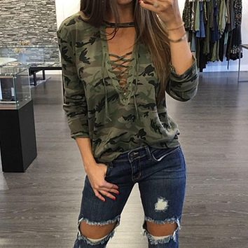 Camouflage Print Blouses 2017 ZANZEA Women Shirts Long Sleeve Sexy Hollow Out Lace Up V Neck Casual Blusas Tops Oversized