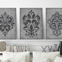 Gray Bedroom Wall Decor, CANVAS or Print, Farmhouse Home Decor, French Country Decor, DAMASK Wall Art, Gray Bathroom Decor, Set of 3 Artwork