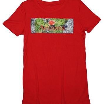 Prickly Cactus: Hot and Dry Cactus Flower T-shirt, Red