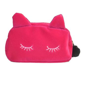Women Cosmetic Pouch Bags Fashion Ladies Makeup Organizer Bag Cat MakeUp Flannel Pouch Cosmetic Bag Monedero Gato Bolsa Feminina