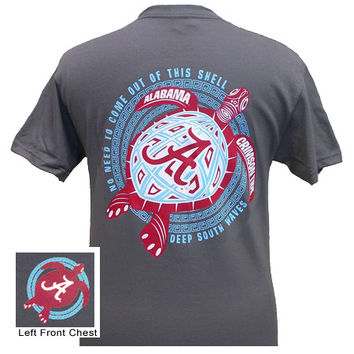 Alabama Crimson Tide Turtle Charcoal Bright Girlie Girl T Shirt