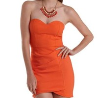 Orange Ruched Strapless Bodycon Dress by Charlotte Russe