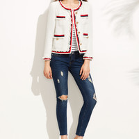 White Striped Trim Frayed Tweed Jacket -SheIn(Sheinside)