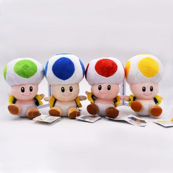 "Super Mario party nes switch 2017   4 Colours 17CM  Mushrooms Toad Plush Toys Stuffed Animals Kids Gift Dolls 7"" AT_80_8"