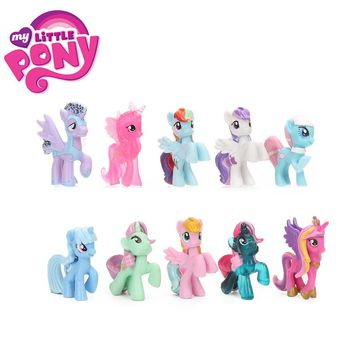 10pcs Mini Pony PVC Action Figures My Little Pony Toys Princess Rainbow Dash Twilight Sparkle Apple Jack Rarity Dolls for Girls
