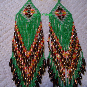 Brick stitch beaded Native American inspired Dark Opal Jade Green Roxanne Bird earrings