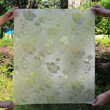 High Quality Thick 3D stained glass sticker frosted Flower leave glass film rolls privacy static cling Decorative window film