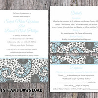 DIY Bollywood Wedding Invitation Template Set Editable Word File Instant Download Blue Wedding Invitation Indian invitation Bollywood party