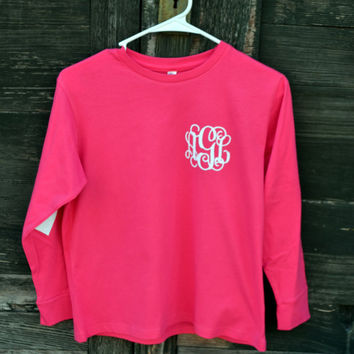 YOUTH Long Sleeve (No Pocket) Heart Patches Monogram Shirt - Valentines - Elbow Patches - Glitter Vinyl