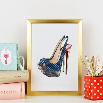 Christian Louboutin Pink Vampanodo print Digital illustration Christian Louboutin Shoes Fashion Illustration Gift Idea, Dorm Wall Decor