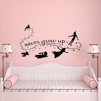 Never Grow Up Wall Decal Quote- Peter Pan Wall Decals Nursery- Peter Pan Nursery Wall Quotes- Kids Boys Room Playroom Nursery Home Decor 014