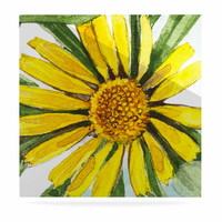 "Liz Perez ""Sunny Day"" Yellow Floral Luxe Square Panel"
