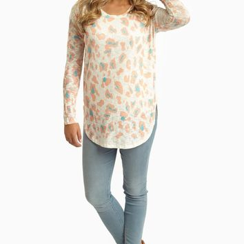 Peach Mint Green Cheetah Print Knit Top