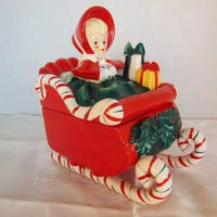 Vintage Lefton Christmas Figurine, Sleigh Candy Cane, Girl With Presents