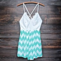 final sale - summer open back mint green chevron romper