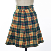 Vintage 70's Skirt Plaid Green and Gold Wool A-Line Flare Schoolgirl