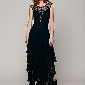 DANCING WINGS Free shipping Commemorative Women's summer Casual Crochet Floral Lace embroidery dresses Boho People Style sexy
