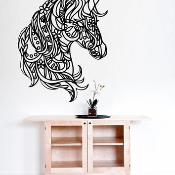Unicorn Wall Sticker, Flower Head Silhouette Decal, Entrance Decor, Mandala Style Sticker, Horse Decor, Farm Style Decal, Animal Decor nm003