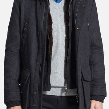 Men's BOSS HUGO BOSS 'T-Cenu' 2-in-1 Jacket with Genuine Rabbit Fur Lined