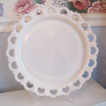 Shabby Chic Heart PLATTER Cake Plate Filigree Milk Glass LARGE
