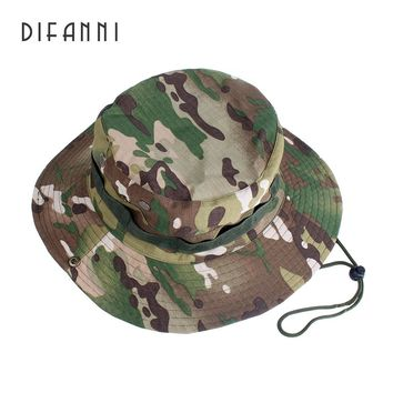 Difanni Tactical Boonie Hats Camouflage Bucket Hat Fisherman Cap Wide Brim Hats Outdoor Camping Hunting Fishing Caps Sunhat flat