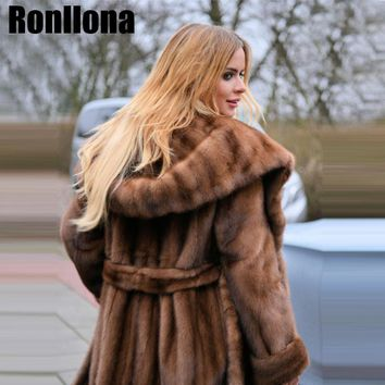 Super X-Long Type Women Real Mink Coats Ladies Natural Genuine Fur Coats Luxury Mink Fur Clothing Winter Warm Big Sale Plus Size