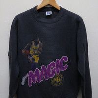 Vintage LAKERS Los Angeles Magic Basketball Pullover Sweatshirt Sweater Black Color Size L