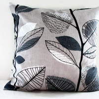 Grey leaf pillow cover, 16 inch cushion cover in Prestigious Autumn leaves fabric sable beige 100% cotton ritish designer